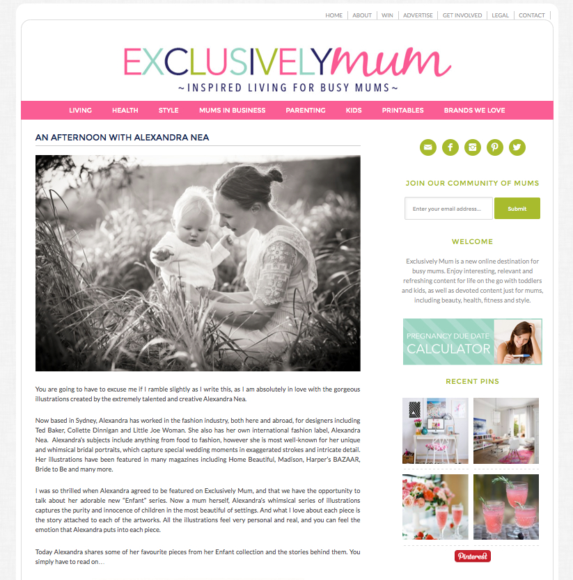 exclusively mum, mum and baby, working mum, press, alexandra nea