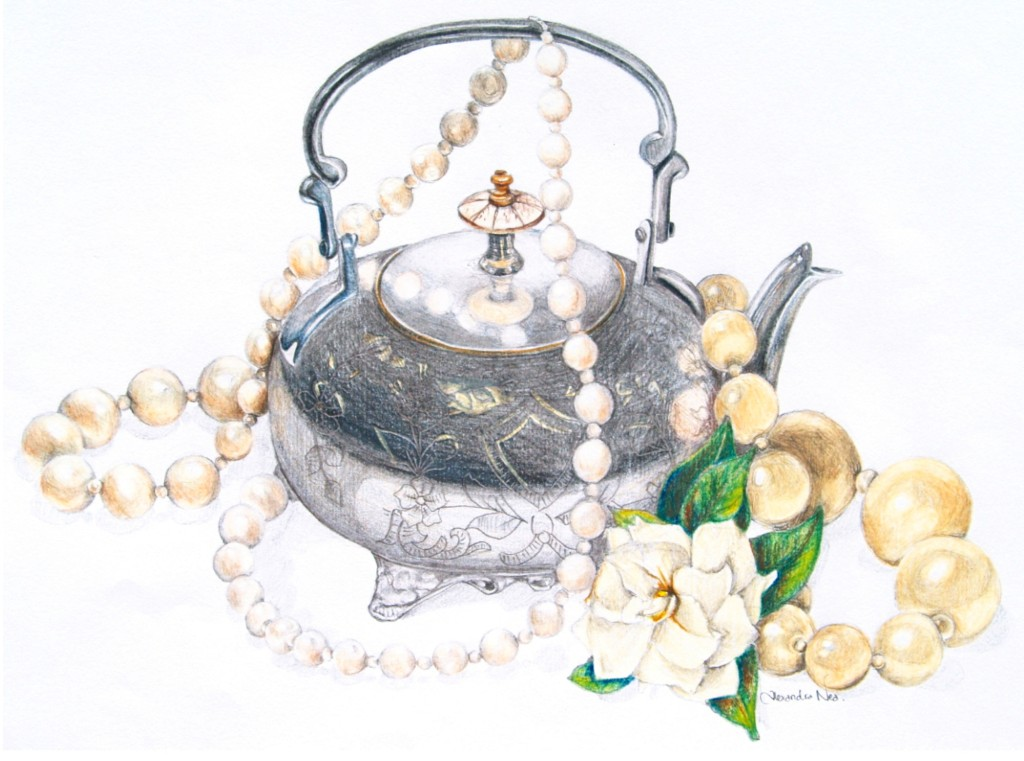 Silver Teapot and Pearls cropped